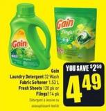 Gain Laundry Detergent 32 Wash Fabric Softener 1.53 L Fresh Sheets 120 Pk or Flings! 14 Pk