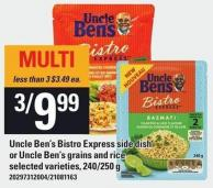 Uncle Ben's Bistro Express Side Dish Or Uncle Ben's Grains And Rice - 240/250 g