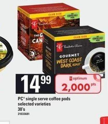 PC Single Serve Coffee PODS - 30's