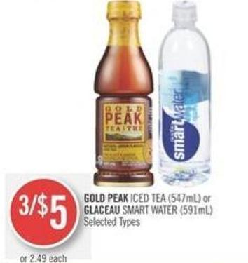 Gold Peak Iced Tea (547ml) or Glaceau Smart Water (591ml)