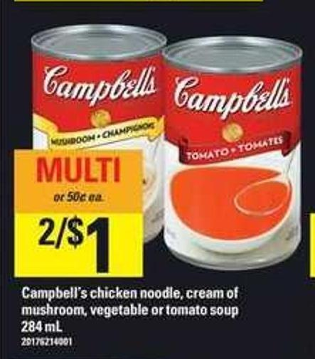 Campbell's Chicken Noodle - Cream Of Mushroom - Vegetable Or Tomato Soup - 284 Ml