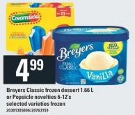 Breyers Classic Frozen Dessert - 1.66 L Or Popsicle Novelties - 6-12's