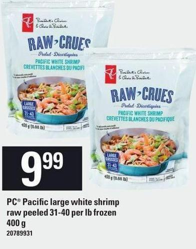 PC Pacific Large White Shrimp Raw Peeled 31-40 Per Lb Frozen 400 G