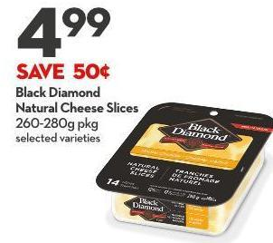 Black Diamond  Natural Cheese Slices 260-280g Pkg