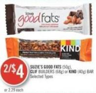 Suzie's Good Fats (50g) - Clif Builders (68g) or Kind (40g) Bar