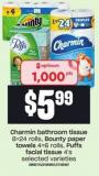 Charmin Bathroom Tissue 8=24 Rolls - Bounty Paper Towels 4=6 Rolls - Puffs Facial Tissue 4's