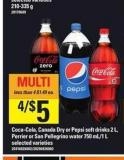 Coca-cola - Canada Dry Or Pepsi Soft Drinks 2 L - Perrier Or San Pellegrino Water 750 Ml/1 L