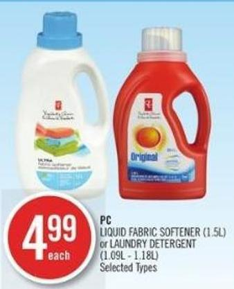 PC   PC Liquid Fabric Softener (1.5l) or Laundry Detergent (1.09l - 1.18l)