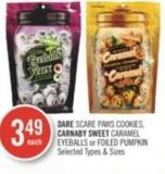 Dare Scare Paws Cookies - Carnaby Sweet Caramel Eyeballs or Foiled Pumpkin