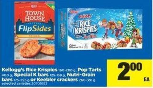 Kellogg's Rice Krispies - 160-200 G - Pop Tarts - 400 G - Special K Bars - 125-138 G - Nutri-grain Bars - 175-2