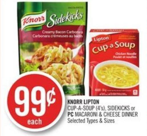 Knorr Lipton Cup-a-soup (4's) - Sidekicks or PC Macaroni & Cheese Dinner