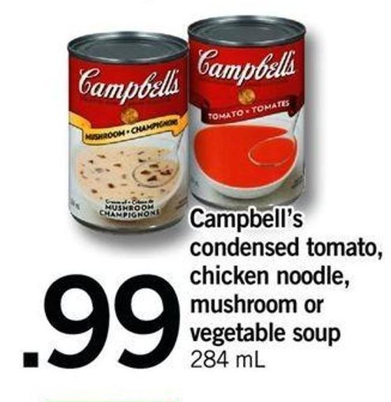 Campbell's Condensed Tomato - Chicken Noodle - Mushroom Or Vegetable Soup