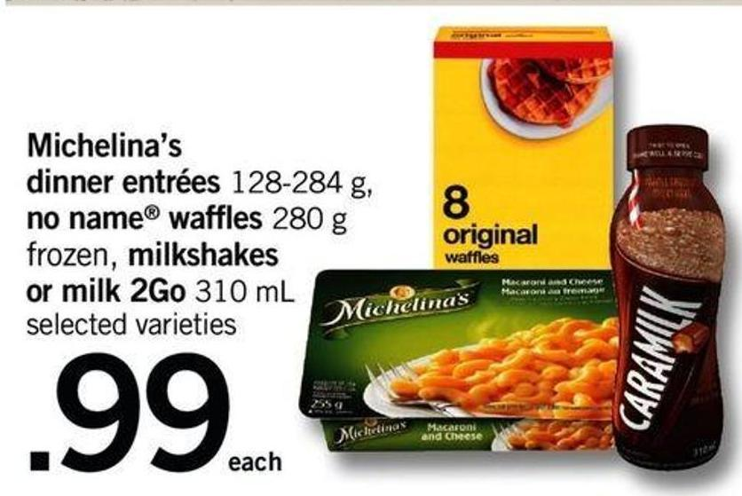 Michelina's Dinner Entrées - 128-284 G - No Name Waffles - 280 G Frozen - Milkshakes Or Milk 2go - 310 Ml