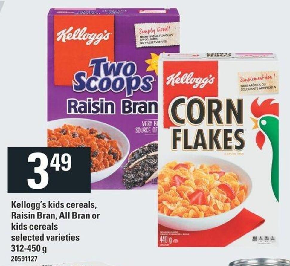 Kellogg's Kids Cereals - Raisin Bran - All Bra Or Kids Cereals 312-450 g