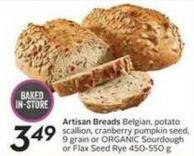 Artisan Breads Belgian - Potato Scallion - Cranberry Pumpkin Seed - 9 Grain or Organic Sourdough or Flax Seed Rye 450-550 g