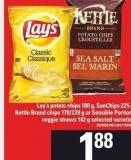 Lay's Potato Chips - 180 G - Sunchips - 225 G - Kettle Brand Chips - 170/220 G Or Sensible Portions Veggie Straws - 142 G