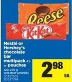 Nestlé Or Hershey's Chocolate Bar Multipack - 4's Or Pouches - 120-256 G