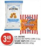 Gh. Cretors  Chicago Mix Popped Corn (213g) - Sesame Snaps Mini (15's) or Hawkins Cheezies (420g)