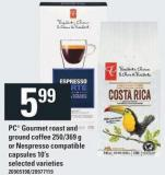 PC Gourmet Roast And Ground Coffee - 250-369 G Or Nespresso Compatible Capsules - 10's