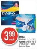 Tampax Tampons (16's - 18's) - Always Liners (48's) or Pads (10's - 18's)
