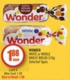 Wonder  White or Whole Wheat Bread 570g
