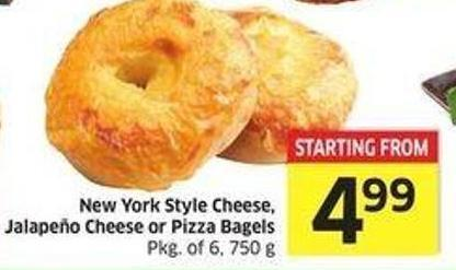 New York Style Cheese - Jalapeno Cheese or Pizza Bagels Pkg of 6 - 750 g