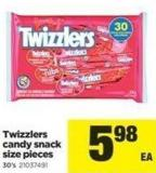 Twizzlers Candy Snack Size Pieces - 30's