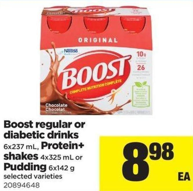 Boost Regular Or Diabetic Drinks - 6x237 Ml Protein+ Shakes - 4x325 Ml Or Pudding - 6x142 G