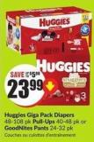 Huggies Giga Pack Diapers 48-108 Pk Pull-Ups 40-48 Pk or Goodnites Pants 24-32 Pk