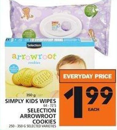 Simply Kids Wipes Or Selection Arrowroot Cookies