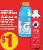 Gatorade Sport Drinks - 950 mL or Sparkling Ice Flavoured Water - 503 mL
