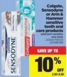 Colgate - Sensodyne Or Arm & Hammer Sensitive Teeth Oral Care Products