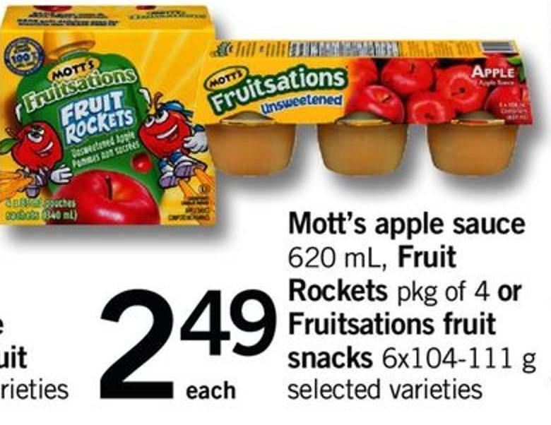 Mott's Apple Sauce 620 Ml - Fruit Rockets Pkg Of 4 Or Fruitsations Fruit Snacks 6x104-111 G