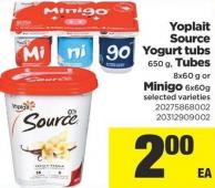 Yoplait Source Yogurt Tubs - 650 g - Tubes - 8x60 g or Minigo - 6x60g