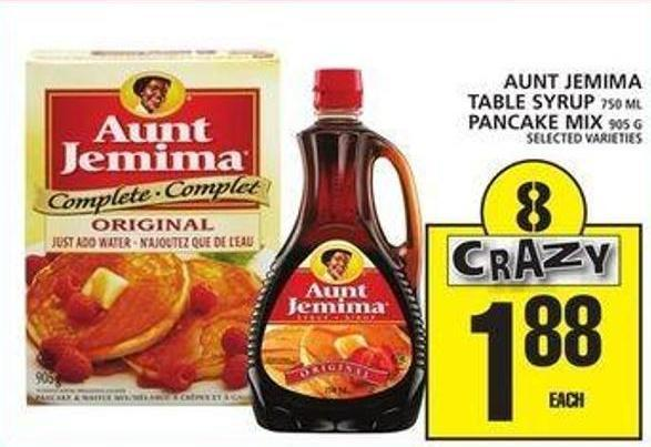 Aunt Jemima Table Syrup Or Pancake Mix