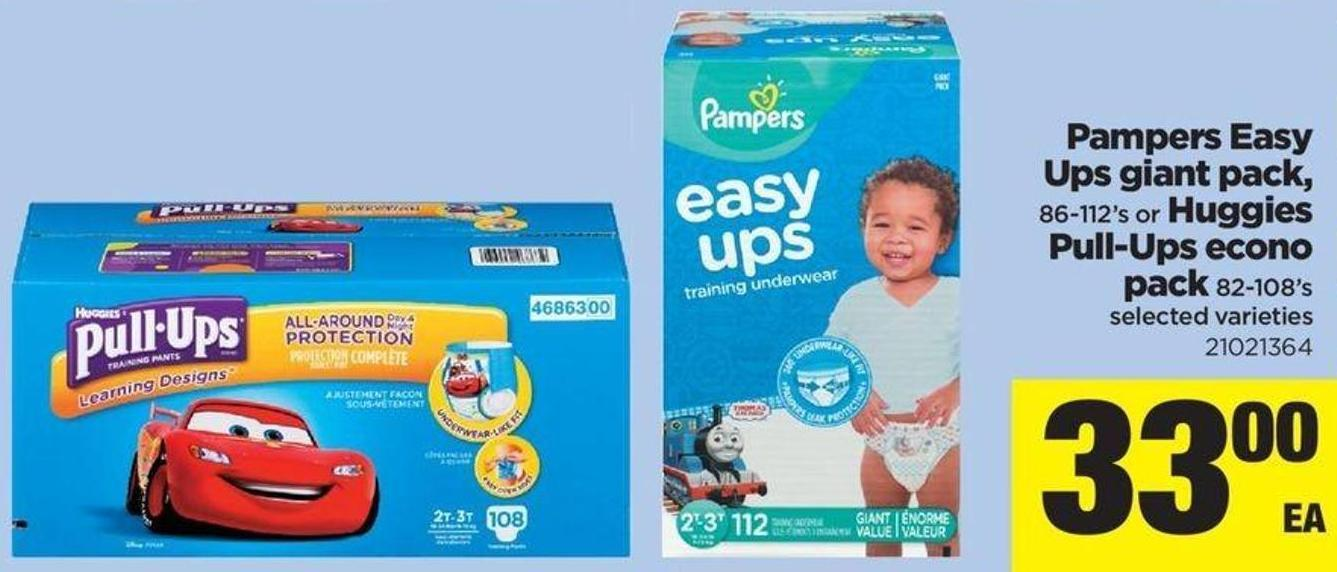 Pampers Easy Ups Giant Pack - 86-112's Or Huggies Pull-ups Econo Pack 82-108's