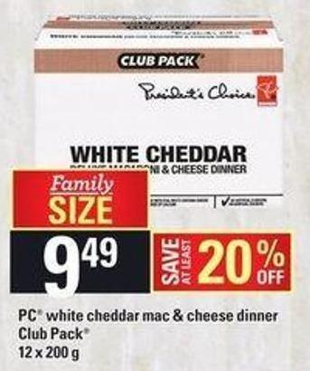 PC White Cheddar Mac & Cheese Dinner - Club Pack