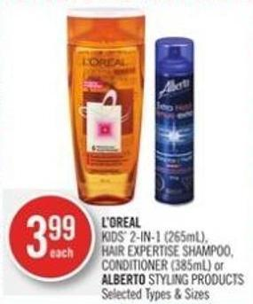 L'oreal Kids' 2-in-1 (265ml) - Hair Expertise Shampoo - Conditioner (385ml) or Alberto Styling Products
