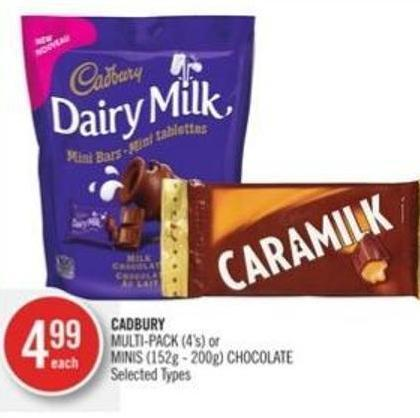 Cadbury Multi-pack (4's) or Minis (152g - 200g) Chocolate