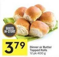 Dinner or Butter Topped Rolls 12 Pk 400 g