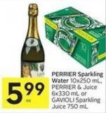 Perrier Sparkling Water 10x250 mL - Perrier & Juice 6x330 mL or Gavioli Sparkling Juice 750 mL