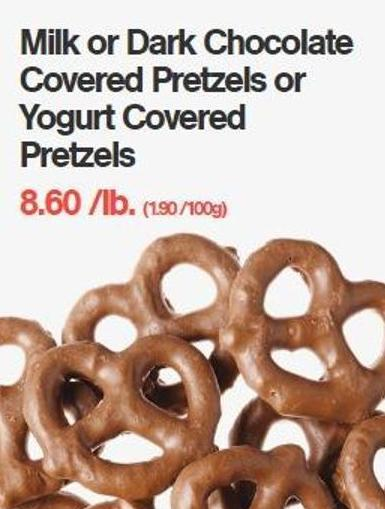 Milk or Dark Chocolate Covered Pretzels or Yogurt Covered  Pretzels