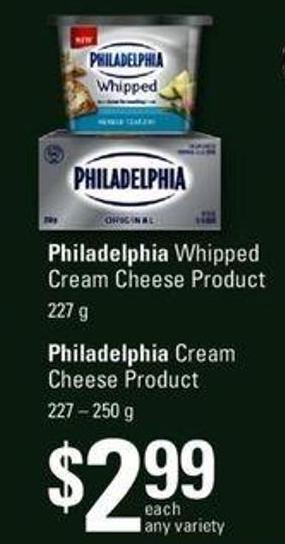 Philadelphia Whipped Cream Cheese Product - 227 G Or Philadelphia Cream Cheese Product - 227 – 250 G