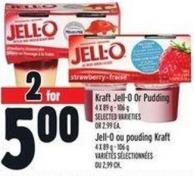 Kraft Jell-o Or Pudding 4 X 89 g - 106 g