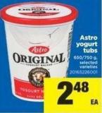 Astro Yogurt Tubs 650-750 g Selected Varieties
