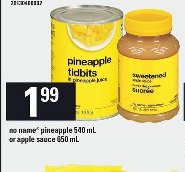 No Name Pineapple 540 mL Or Apple Sauce 650 mL