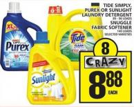 Tide Simply - Purex Or Sunlight Laundry Detergent or Snuggle Fabric Softener