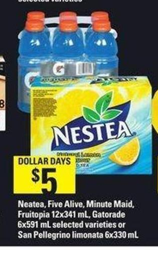 Nestea - Five Alive - Minute Maid - Fruitopia - 12x341 Ml - Gatorade - 6x591 Ml Or San Pellegrino Limonata - 6x330 Ml