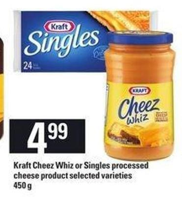 Kraft Cheez Whiz Or Singles Processed Cheese Product - 450 g