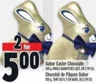 Gubor Easter Chocolate 100 g While Quantities Last Or 2.99 Ea.